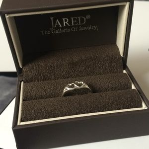 Jared sterling silver double heart ring -